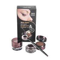 Wholesale Music Flower MakeUp Piece Set Waterproof Eye Liner Eyeliner Cream Eyebrow Powder Black Brown Colors set Cosmetic