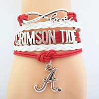 alabama bracelet - Infinity Love Alabama Crimson Tide Athletic college football Team Bracelet Crimson White Customize Sports Cheer wristband drop shipping