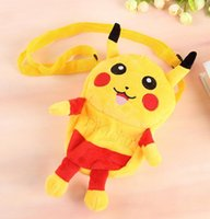 Wholesale Pikachu Plush Coin Purse Poke Messenger Bag Children Cartoon Mini Snack Package Wallets Backpacks