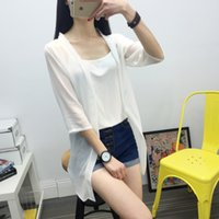 Wholesale Ms Spring new women s pearl chiffon shawl cardigan sun protection clothing loose women long section sunscreen clothing