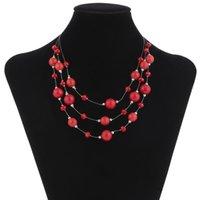 Wholesale Red Bead Tennis Necklace Multi Layered Rhinestone Women Graduated Sweater Necklace Clavicle ChainRed Bead Tennis Necklace Multi Layered Rhin