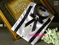 Wholesale New White black Patchwork Long sleeved Men Shirt Wedding Prom Groom Shirts Wear Bridegroom Man Party Shirt