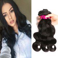 Extensión del pelo de la onda del cuerpo de Malasia 7A 4Bundles Virgen del pelo humano de Malasia suave indio brasileño del pelo humano de la armadura de lotes pueden teñir blanqueado