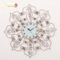bedroom style ideas - 1pcs European mute rose wall clock garden style living room bedroom clock aesthetic ideas of modern iron clock