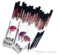 Wholesale 1set Kylie Lip Gloss Lipstick Real Kylie Jenner Cosmetics Lip Kit Lipliner Lipgloss In Stock Liquid Lipstick Matte Colors