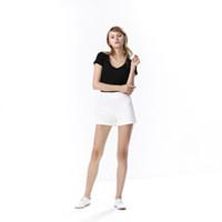 Wholesale A Line Shorts for Women Mid Waist Regular Lightweight Summer Shorts Zipper Fly with Side Black White