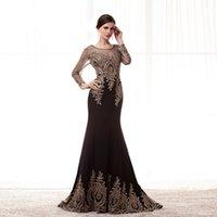 Wholesale Elegant Black Dress Lace Black Dress Formal Appliqued By Gloden Lace Flower With Transparent Sleeves