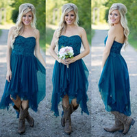 Wholesale Country Bridesmaid Dresses Short Hot Cheap For Wedding Teal Chiffon Beach Lace High Low Ruffles Party Maid Honor Gowns Under