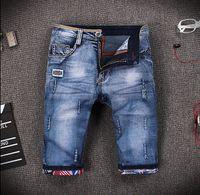 Cheap Wholesale-Hot Sale Ripped Jeans Men Fashion Brand Casual Pants For Men 2016 Designer Denim Short High Quality Distressed Men Jeans Short