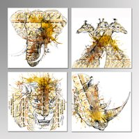 animal sketch art - Canvas Wall Art Giraffe Elephant Lion and Rhinoceros Pencil Sketch African Animal Watercolor Painting Stretched Canvas Print Wall Decor