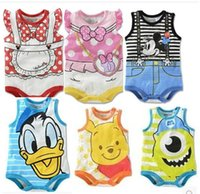 Wholesale 2016 new fashion summer infant toddler baby girl boy rompers clothes clothing cartoon printed jumpsuit pure cotton