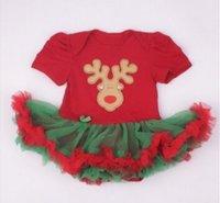 Bébé Combinaison Pour Noël Filles d'une seule pièce Les Nouveaux Vêtements Femmes Filles manches courtes Robe Triangle Paquet Fart Romper coton