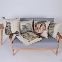 Wholesale Lovely Naught Cats Cushion Cover Pet Cat Print Decorative Pillow Covers Home Sofa Decorative Linen Cotton Pillowcase Present