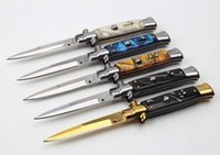 Wholesale AKC quot INCH Acrylic handle Italian Godfather Stiletto C steel blade survival outdoor camping knives single action free shippin