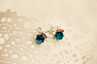 Wholesale E366 crystal blue green bow shape earrings Water Cube coffee Tong jewelry elegant fashion sweet lovely wild earrings earrings