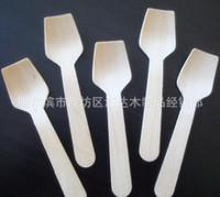 bbq disposable - Grade A pieces Mini Disposable Wooden flat edge SPOON Scoop CM dessert Spoon Flatware birch wood ice cream cake Party BBQ
