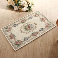 Wholesale Kilim European Bathroom Rugs Carpets for Living Room Anti Slip Rectangle Acrylic Jacquard Bedroom Carpet Beige Doors Mats Cheap cm