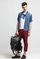 Wholesale 2016 new leather men quot s shoulder bag leisure backpack Korean travel bag school bag backpack