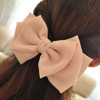 Wholesale Chiffon Three Layers Large Bow Hair Barrettes For Women Solid Color Hair Clips For Girls Summer Hair Accessories