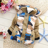 Wholesale new fashion boys clothes children s clothing camouflage stitching thick padded Winter Balmy jacket