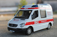 ambulance lights - Alloy Car Model Boy Toys The Ambulance Meat Wagon High Simulation with Sound Head Lights Kid Gifts Collecting Home Decoration