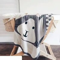 Wholesale winter new style fashion baby blanket kawaii fox and rabbit high quality cotton newborn s envelope knitting muslin swaddle