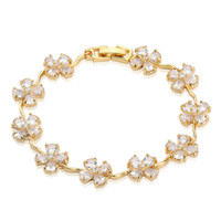 balance bar gold - Silicone balance bracelet Yellow Gold Plated White Cubic Zirconia Plum Flower Tennis Bracelet Noble Party Jewelry