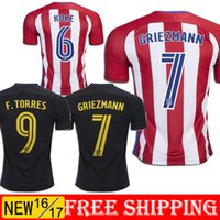 Wholesale 2016 Atletico Madrid Home Away GRIEZMANN Jerseys GODIN KOKE F TORRES SAUL best quality shirt jerseys