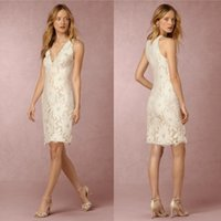 Wholesale New Arrival Lace Beach Wedding Dresses Sheath V Neck Ivory Short Bridal Gowns Knee Length Cheap Wedding Dress