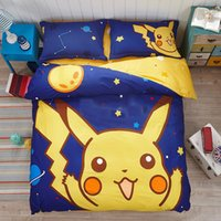 Wholesale New cartoon poke Pikachu Mickey student Bedding Supplies pillowcase bed sheet quilt set cotton children Bedding sets