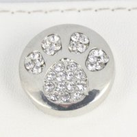 bezel bead - silver Noosa chunks bear dog paw snaps button jewelry
