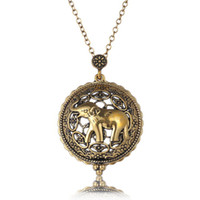 ancient gold jewelry - Creative personality is hollow out the elephant pendant necklace Men and women to restore ancient ways magnifying glass jewelry accessories