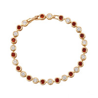 Wholesale Fashion K Gold Plated Copper Tennis Bracelets Women Quality Cubic Zirconia Link Chain Fine Copper Jewelry from Xuping Brand for Gift