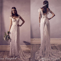 Wholesale 2016 Vintage Anna Campbell Lace Wedding Dresses with Capped Sleeves Long Beach Bohemian Wedding Dress Plus Size Bridal Dress Pregnant