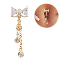 alexandrite ring gold - Hot Sale Rhinestone Bow Belly Button Rings Navel Body Piercing Gold Ball Bowknot Dangle Navel Belly Button Bar Barbell Ring Jewelry