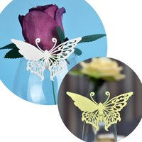 Decorative Paper baby names mark - Laser Cut Small Butterfly Table Mark Escort Wine Glass Name Place Cards for Wedding Event Decoration Baby Shower Favor Party Supplies