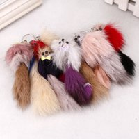 Wholesale 20 cm Genuine fox tail fur keychain Fashion charms trinket car Pendant Key Chain Ring creative women bag Key holder Jewelry gift