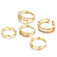 animal stack - 5 Set Brand Gold Women s Rhinestone Bowknot Knuckle Midi Mid Finger Tip Stacking Rings for Women Wedding Dropship