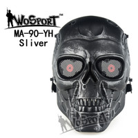 airsoft safety mask - Tactical Hood Terminator Airsoft Skull Mask Full Face Skeleton Safety Silver Steel Wargame Army Field Game Halloween Party Movie Prop