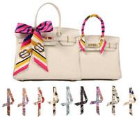 bag print design - DHL Multi Designs High end Fashion Designs Tied Bag Scarf Small Bow Ribbon Headscarf Silk Scarves Wrap Twilly Headband