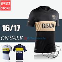 achat en gros de personnalisation des chemises-Livraison gratuite qualité thaïlandaise 2016-2017 Boca Juniors bleu jaune chemise noire CARLITOS ROMAN TEVEZ football football maillot personnaliser Mix ordre