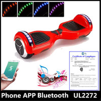Wholesale UL2272 Upgrade Phone APP inch Two Wheels Hoverboards Bluetooth Speaker Self Balancing Scooter Electric Skateboard Smart LED Scooter
