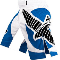 Wholesale High quality Men s MMA Blue and White professional Fight shorts Muay Thai Boxing Jujitsu shorts XS L