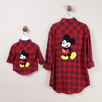 Wholesale Family clothes Mother and daughter Casual long sleeve Plaid Shirt Blouse mickey family look girl and mother clothing red and white