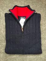 Wholesale High quality fashion classic brand plus size men s cotton pure color turtleneck half zipper long sleeve turtleneck sweater
