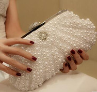 Wholesale New Fashion Elegant Women Beaded Lady Cultch Pearl Evening Bag Gorgeous Bridal Wedding Purse Party Handbag With Chains