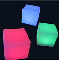 abs colored lights - 20cm Lounge Colored PE RGB LED Cubes grow cube chair light stool cube led cube chair Table Lamps
