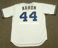 Wholesale Throwback HANK AARON Milwaukee Brewers Retro jerseys Home embroidery Men s baseball jersey