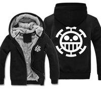 animal one liners - Winter Thicken Fleece Men Hoodies Sweatshirt Black Printed Anime One Piece Series Faux wool liner Male Coat Long Sleeve Jacket