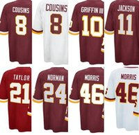 Wholesale Redskins COUSINS GRIFFIN JACKSON MORRIS NORMAN TAYLOR Red White Men Game Football Jerseys Accept Mix Order